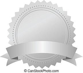 vetorial, prata, distinção, emblema