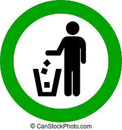 vector, no, Tirar basura, redondo, señal