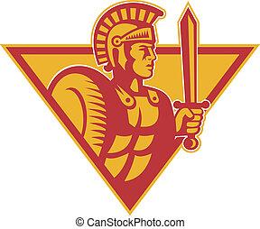 romana, Centurion, soldado, com, espada, e, escudo