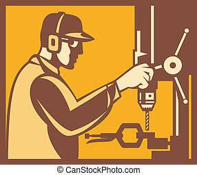 Factory Worker Operator With Drill Press retro -...