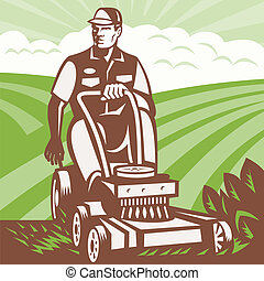 Gardener Landscaper Riding Lawn Mower Retro - Illustration...