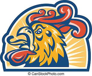 Rooster Cockerel Head Retro