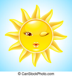 Cartoon Sun Characters - Winking Sun Cool Cartoon Character...