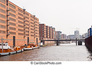 Speicherstadt in Hamburg, Germany is the worlds largest...