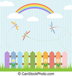 Colorful dragonflies and rainbow Vector illustration