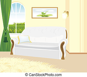 Fragment of living room Classic style Vector illustration