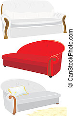 Three sofas isolated on the white Vector illustration