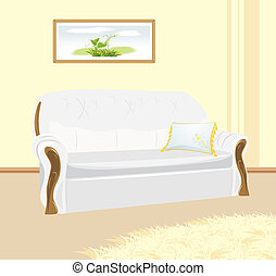 White sofa with pillow. Fragment of living room. Vector...