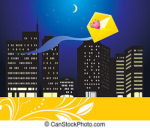 Envelope with heart and night city