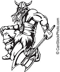 Nordic viking - vector illustration. Vinyl-ready. - Nordic...