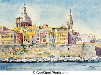 Valletta, Malta - a watercolor painting