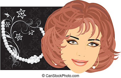 Pearly necklace and woman portrait. Vector illustration