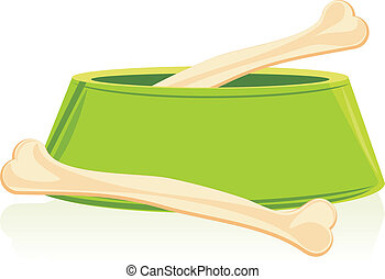 Bones in a green doggy bowl Vector illustration