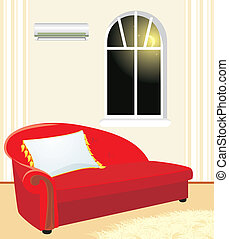 Fragment of living room by evening. Vector illustration