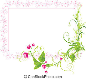 Sprig with pink flowers. Frame. Vector illustration