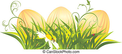 Easter eggs in the grass with chamomile Vector illustration