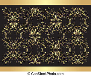 Decorative retro background. Golden isolated on the black....
