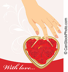 Female hand and heart with roses
