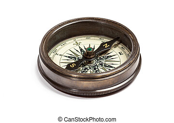 Old vintage compass isolated - Old vintage retro golden...