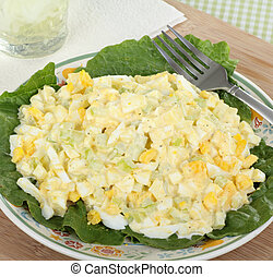 Egg Salad Meal - Egg salad on lettuce leaf on a plate