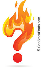 Hot question mark icon - question mark with fire - vector...
