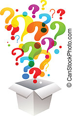 box with question mark icons - box with colorful question...