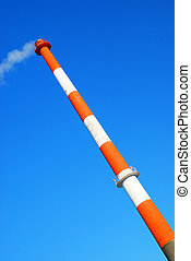 smokestack with toxic carbon dioxide fume smoke exhaust...