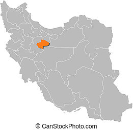 Map of Iran, Qom highlighted - Political map of Iran with...