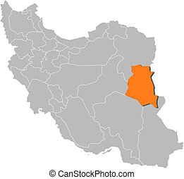 Map of Iran, South Khorasan highlighted - Political map of...