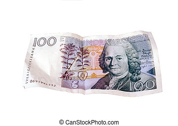 Swedish 100 kronor closeup on white background.