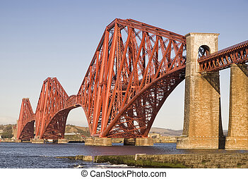 Forth Rail Bridge, Edinburgh, Scotland. This bridge connects...