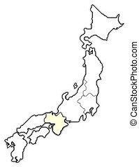 Map of Japan, Kinki highlighted - Political map of Japan...