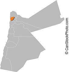 Highlighted, mapa,  Jordan,  ajloun