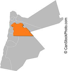 Highlighted, mapa,  Jordan,  Amman