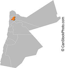 Highlighted, mapa,  Jordan,  Jerash