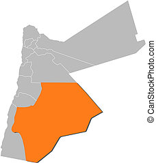 Map, Jordan, Ma'an, highlighted