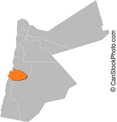 mapa, Jordan, Tafilah, Highlighted