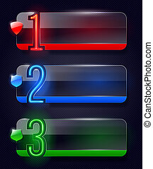 Glass banners with neon numbers - Vector design templates -...