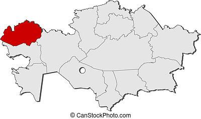 Map of Kazakhstan, West Kazakhstan highlighted