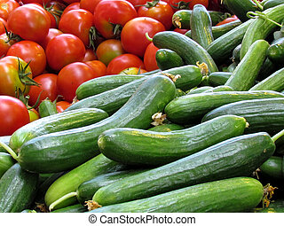 Tel Aviv cucumbers and tomatoes - Cucumbers and tomatoes on...