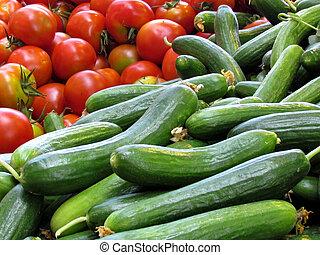 teléfono, Aviv, pepinos, tomates