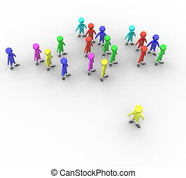 3d colored people with the leader on a white background