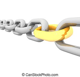3d steel chain with a gold link