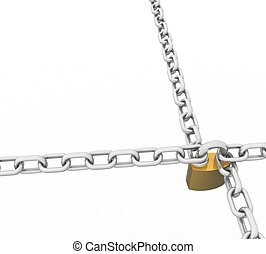 3d twisted chain with a brass lock and key