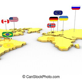 3D image of the earth is flat with the flags on a white background isolated