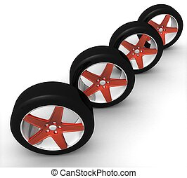 3d set of car wheels in red on a white background isolated
