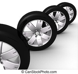 3d set of car wheels on a white background isolated