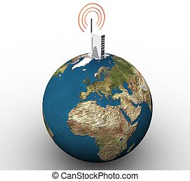 3d wireless internet and land on a white background isolated