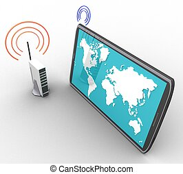 3d wireless internet and a computer on a white background isolated