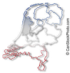 Map of Netherlands, North Holland highlighted - Political...